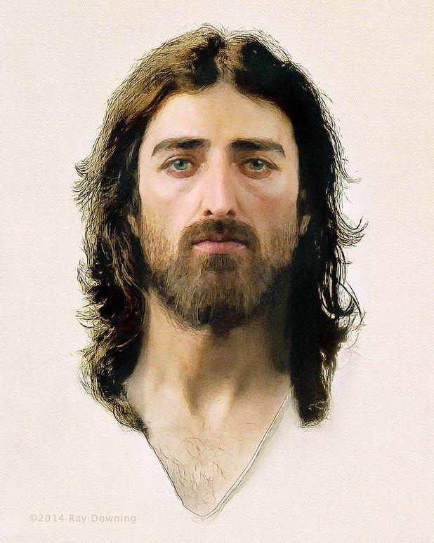 Rosto de Jesus refeito por computação gráfica pelo designer gráfico Ray Downing de acordo com a imagem do Santo Sudário de Turim. <3
