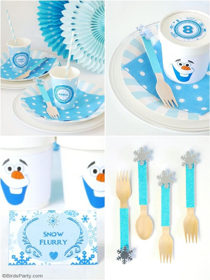 A Frozen birthday party Cupcake Fondue Station with lots of creative decorations to DIY and FREE printables!