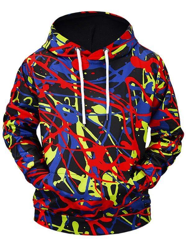 3D Graffiti Print Patch Kangaroo Pocket Hoodie – multicolor A M   – Men Fashion