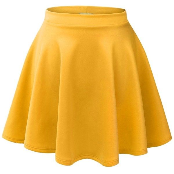 MBJ WB211 Womens Basic Versatile Stretchy Flared Skater Skirt L YELLOW... ($15) ❤ liked on Polyvore featuring skirts, b o t t o m s, yellow circle skirt, yellow knee length skirt, flared hem skirt, skater skirts and yellow skater skirt
