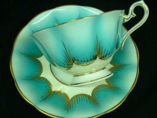Royal Albert Tea Cup and Saucer Avon Shape Teal Turquoise Blue Green Fan