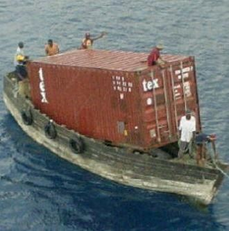 The smallest container ship on earth...