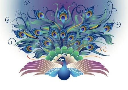 Peacock a modified form of peacocks that were flapping both wings and tail dangling all directions i Stock Vector