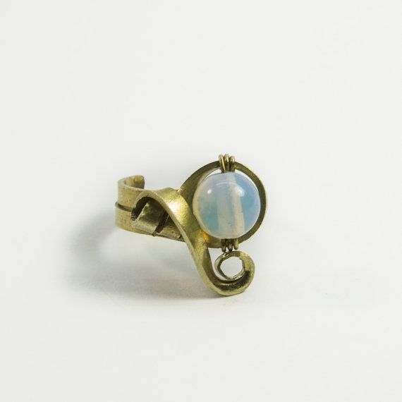 Moonstone boho ring  adjustable brass  handmade by AntimetryCrafts