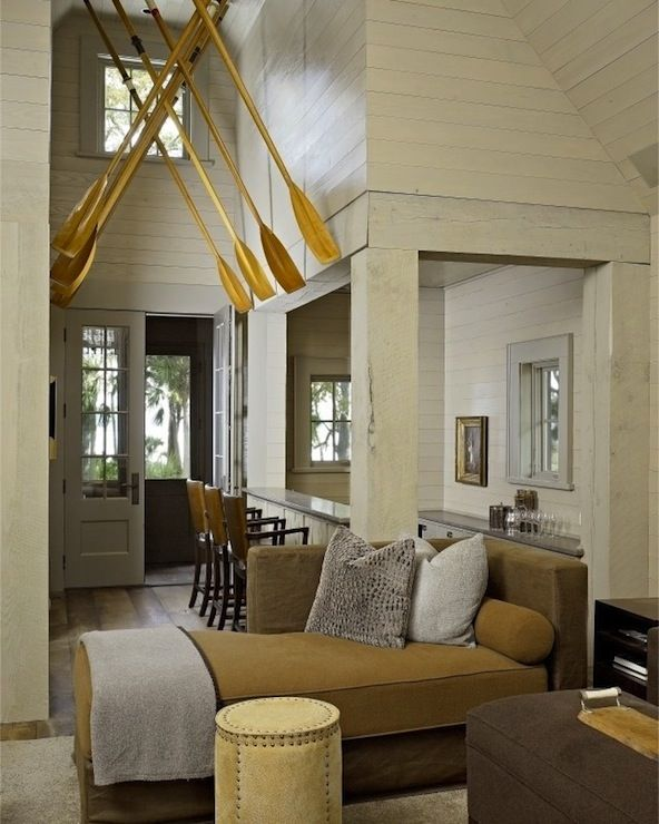 Rustic Cabin With Wood Paneled Walls, Yellow Oars, Yellow Chaise Lounge,  Gray Velvet · Decorating BedroomsDecorating IdeasDecor IdeasLake ...