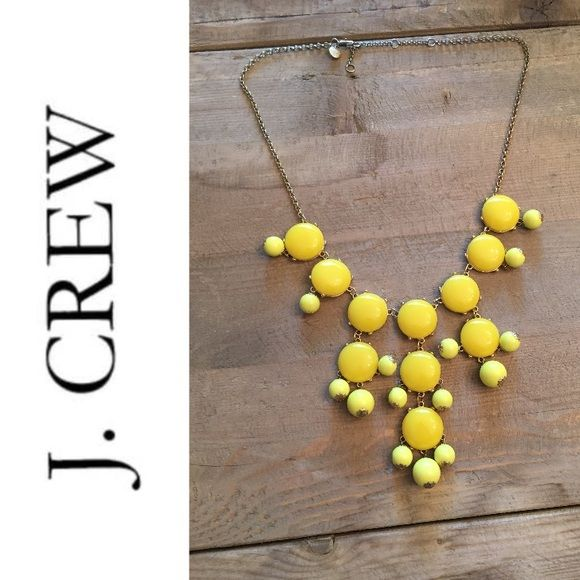 J. Crew Yellow Bubble necklace Chain is a little tarnished between gold and silver... But not noticeable especially while wearing J. Crew Jewelry Necklaces