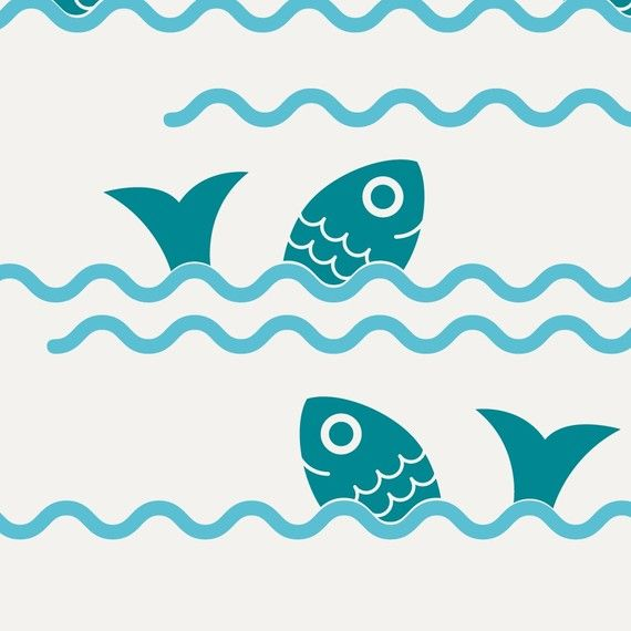 Fish Jumping Ocean Waves Vinyl Wall Decal by graphicspaces on Etsy, $30.00