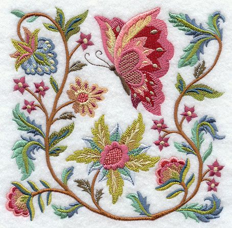Jacobean Butterfly and Flower Square 2