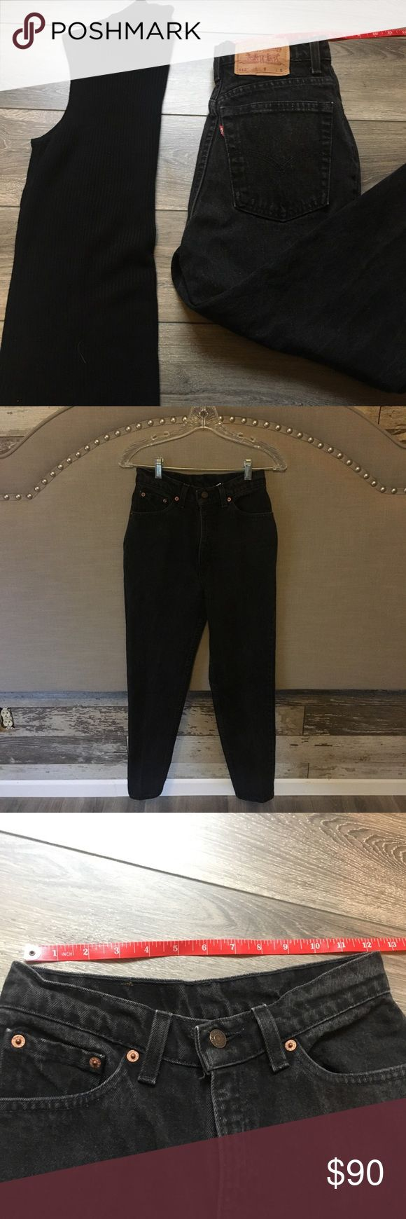 ⭐️️Vintage⭐️️Levi 512 black denim Black denim. High waisted, and vintage faded. Size 24! Get these while you can Levi's Jeans Straight Leg
