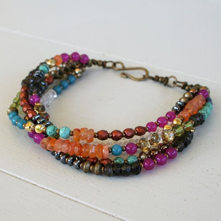 Bright gypsy bracelet - pink jade, turquoise, carnelian, antique brass, smoky quartz.