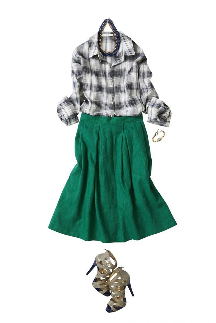 レディなグリーンの麻スカートで賢く着こなす夏と秋 ― B
