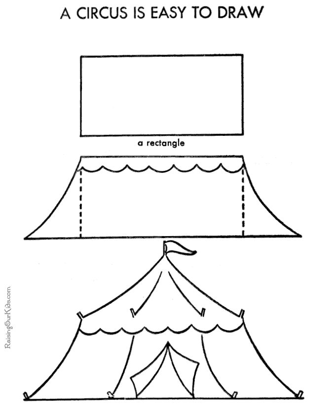 drawing easy circus tent....great for coaching them through an accomplishable likeness