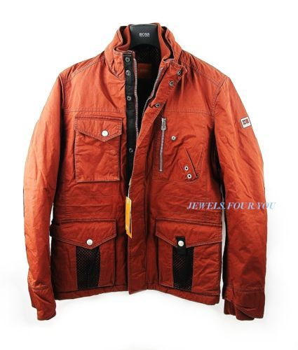 Hugo boss leather jacket red