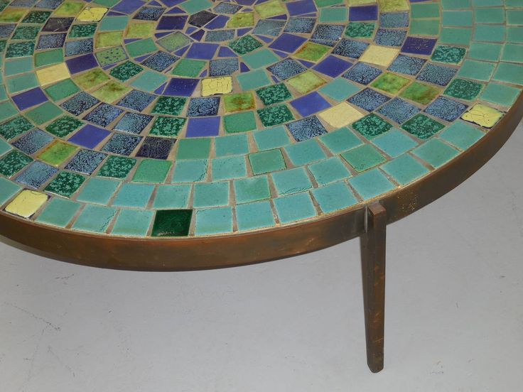Turquoise Tile And Bronze Coffee Table Mosaic House At 1stdibs In Mosaic  Coffee Table