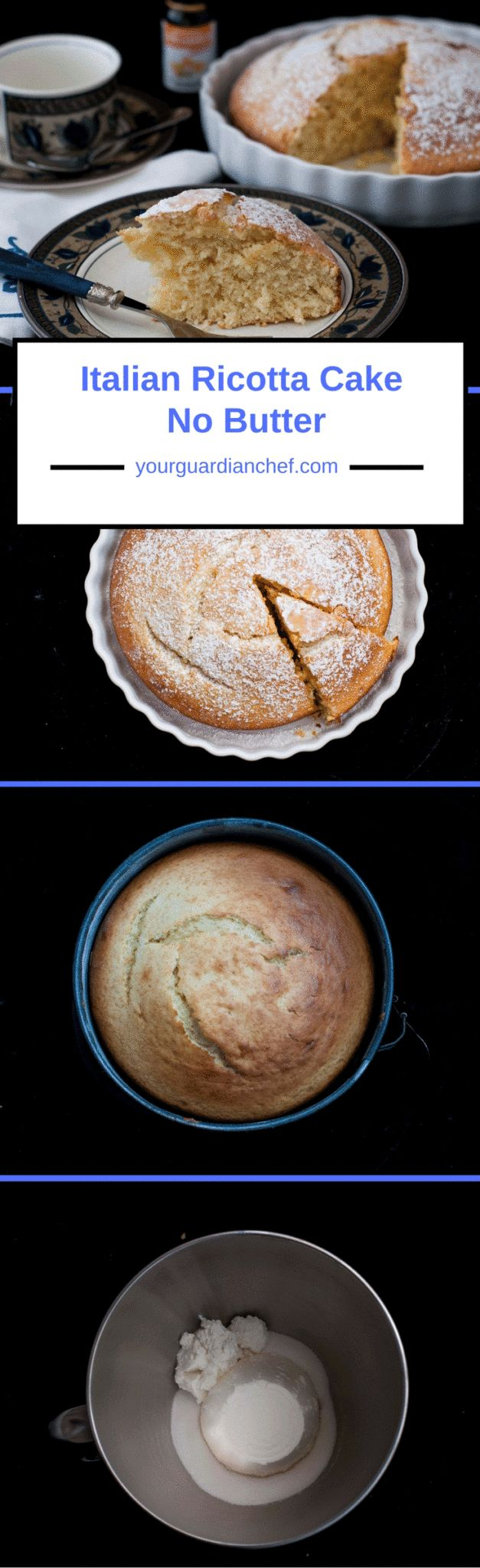 This is an old Italian ricotta cake no butter recipe from the wartime when butter was scarce. It is not a creamy cake similar to the American cheesecake. Your Guardian Chef #ricotta #nobutter #authentic #Italian #cake