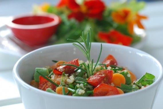 Herbed Quinoa w/ Roasted Tomatoes & Nasturtium Salad- benefits of Quinoa | The Alkaline Sisters