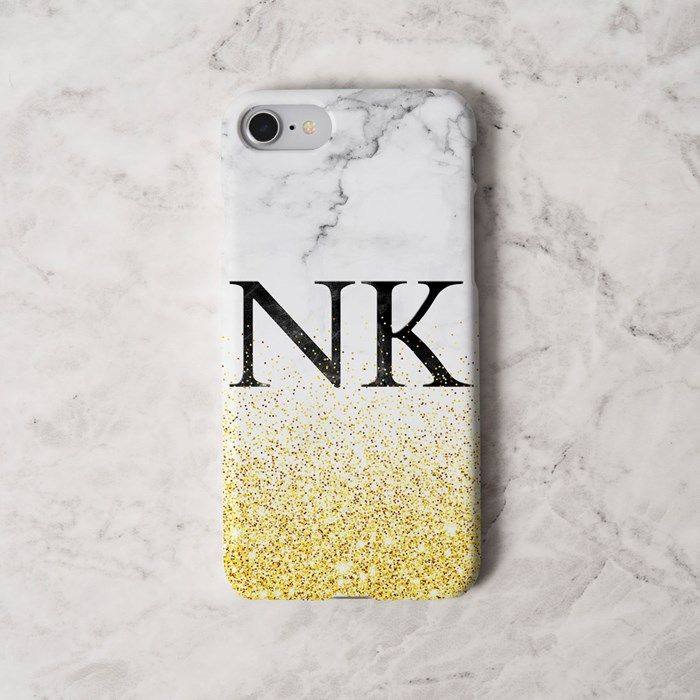 Personalised iPhone Snap Cover - Marble Initials With Sparkle | GettingPersonal.co.uk
