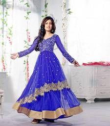 Buy Blue embroidered Net semi stitched salwar with dupatta anarkali-salwar-kameez online