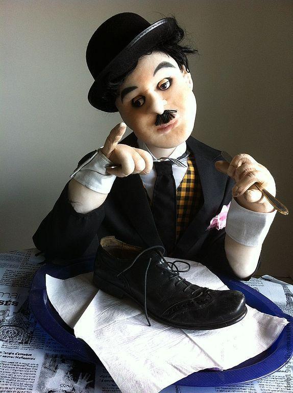 """Купить Портретная ростовая кукла""""Старое кино""""(Чарли Чаплин) - черный, Чарли Чаплин, портрет, портретная кукла"""