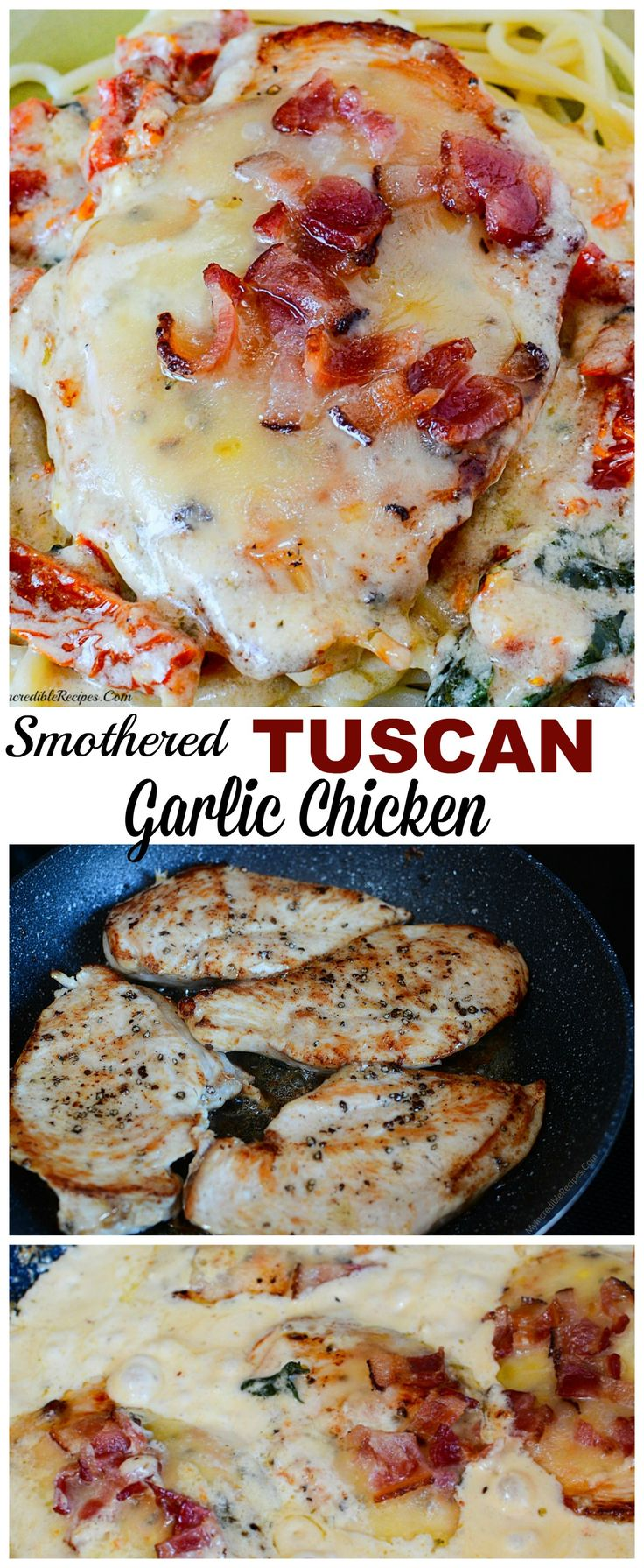 Smothered Tuscan Garlic Chicken! image on RecipesHeaven.com