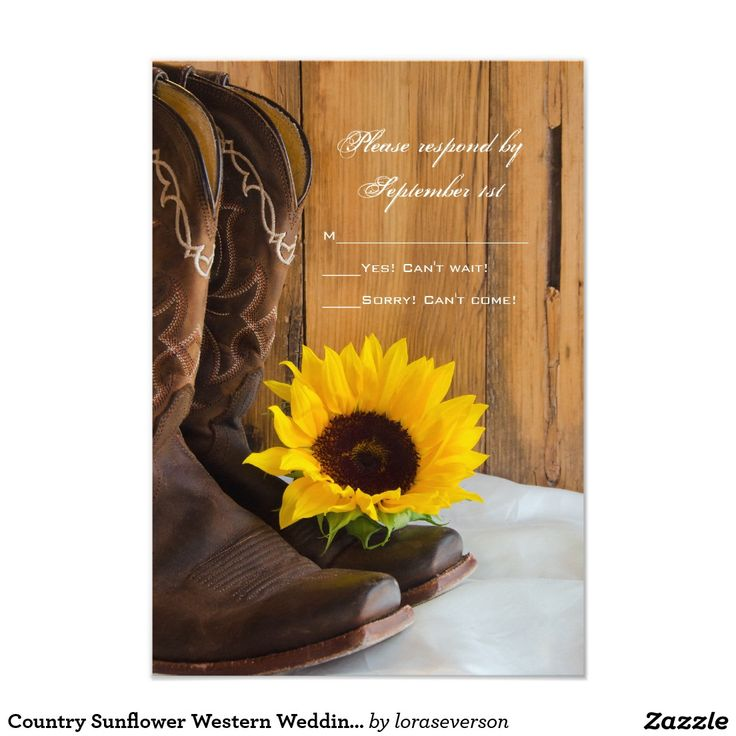 free templates for wedding response cards%0A Country Sunflower Western Wedding RSVP Response Card