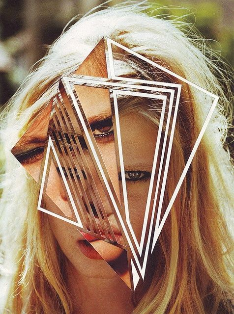 A fragmented portrait of a blonde woman....shattered with glass.