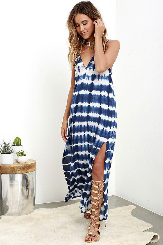 Lost Coastlines Blue Tie-Dye Maxi Dress at Lulus.com!