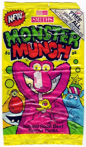 Smiths Monster Munch Roast Beef Crisps 1988. Still love these- especially pickled onion flavour!