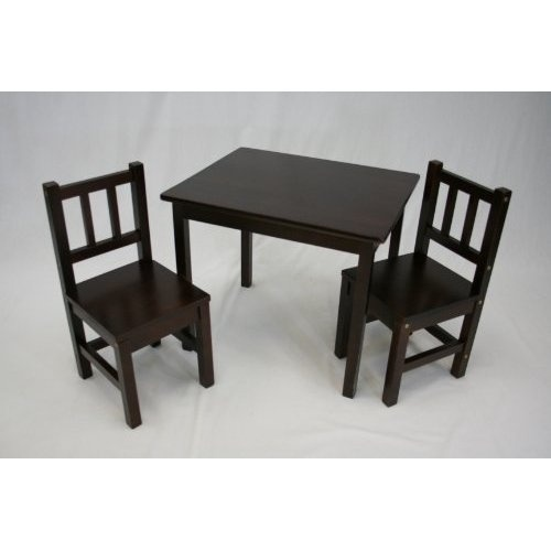 Amazon.com: Kids Table and 2 Chairs Set (Solid Wood in Espresso): Home & Kitchen