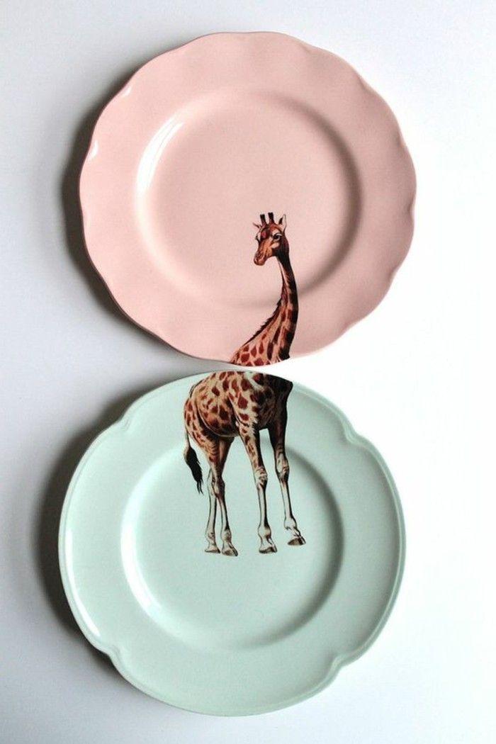 wohnideen küche teller weiße wand wanddeko idee giraffe Products - küchen wand deko