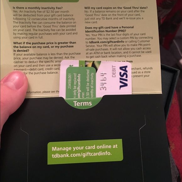 $25 TD Bank/Visa Gift Card | Visa gift card and Banks
