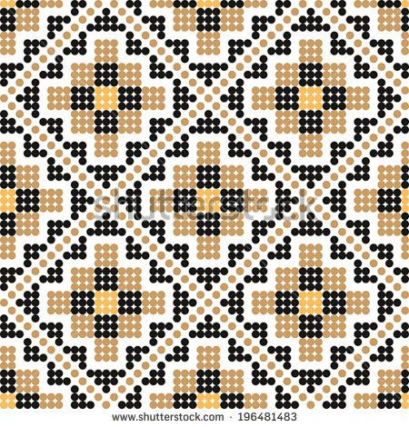 Seamless pattern with a sample of Ukrainian Embroidery or beads. Vector illustration.