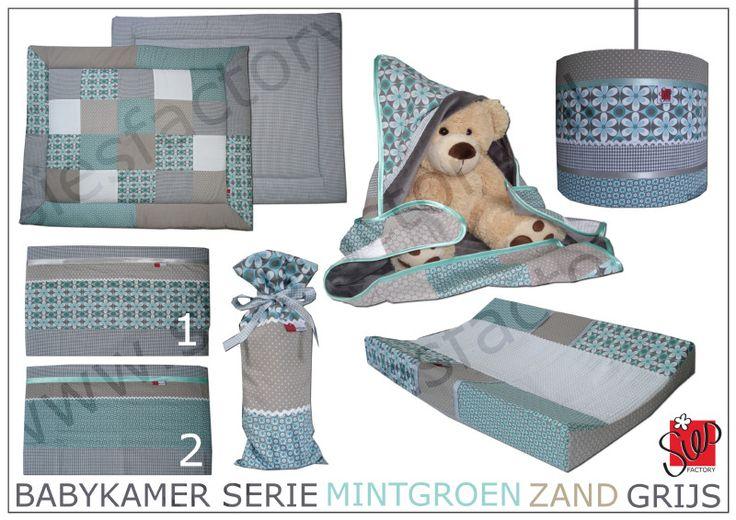 Babykamer aankleding in zachte tinten mintgroen, zand en grijs met retro bloemen patroon