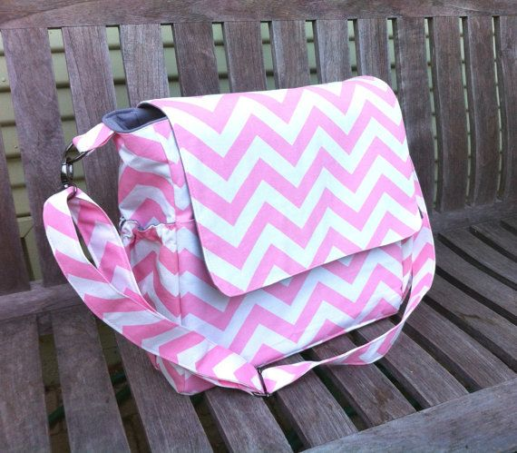 Large Pink and White Chevron Diaper Bag Messenger by MyaCdesign
