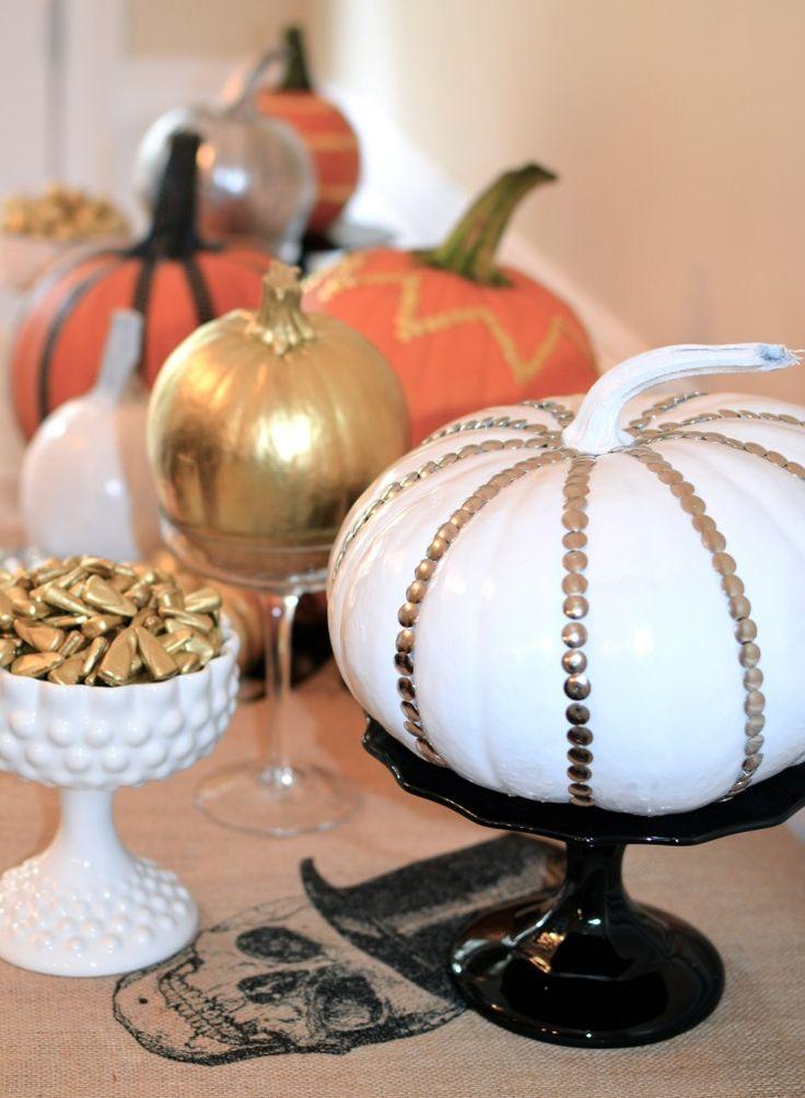 I like the studs...actually brass thumb-tacks !   Pumpkin decor-classy studded