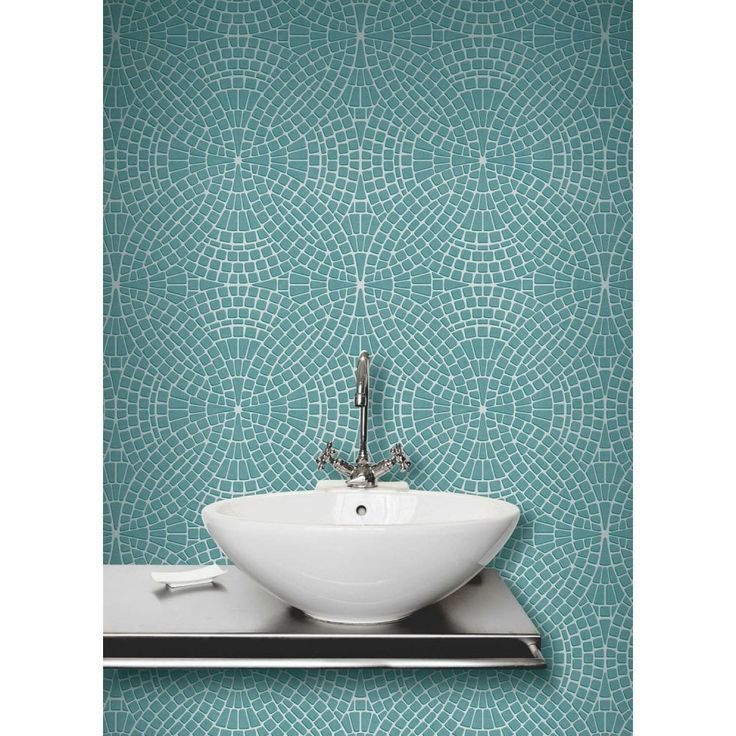 Merveilleux Fine Decor Ceramica Mosaic Tile Effect Washable Wallpaper Teal / Silver  (FD40128)