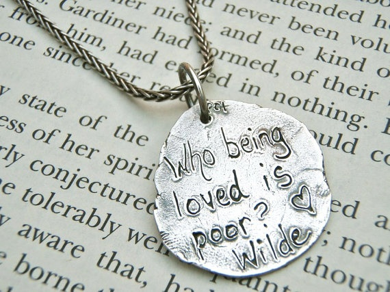 Who wouldn't love to get this?  love quote necklace  oscar wilde quote necklace  by peacesofindigo, $122.00