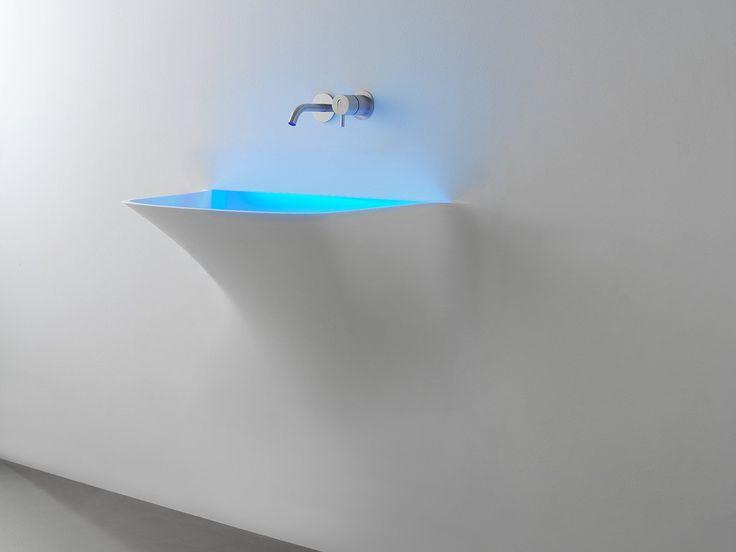 Corian® washbasin with light SOFFIO by Antonio Lupi Design® | design Domenico De Palo