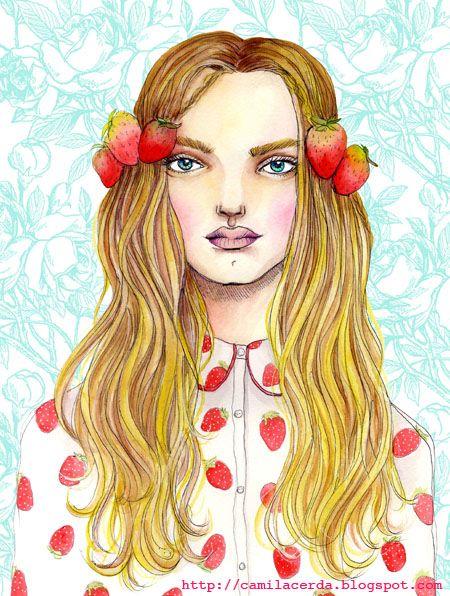 Destellos de rojos en una una blusa de frutillas ilustrada por: Camila Cerda Puedes ver más de sus ilustraciones en su fan page de Facebook: camila.cerda.illustration 🔎 #talentochileno #fashionblog #difundimosmoda