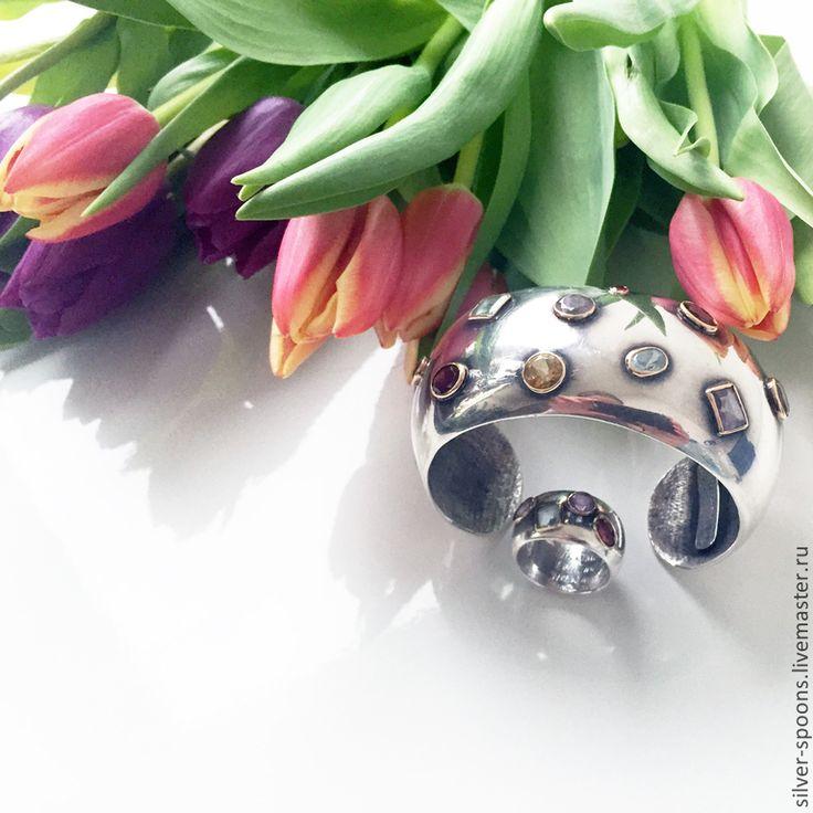"""Купить Браслет и кольцо """"Для любимой"""" . Комплект украшений с камнями. - подарок на день рождения, браслет"""