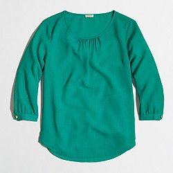 Factory three-quarter sleeve blouse in textured grid