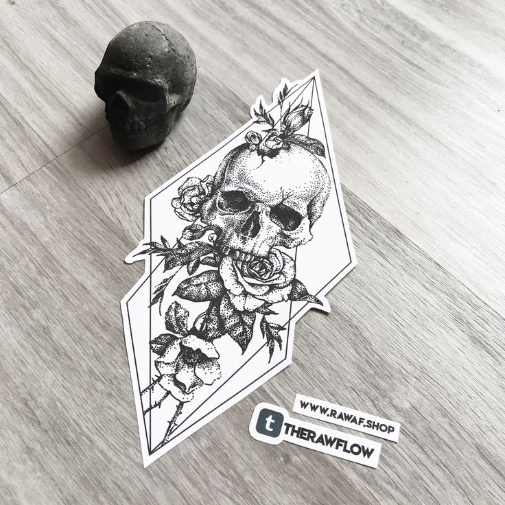 Dotwork skull rose flower tattoo design, commission for Kirstyn (ig @kirstynsosa) - for commissions, please visit www.rawaf.shop/commissions