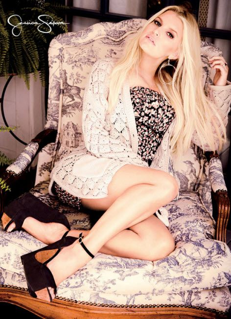 Jessica Simpson models Janna floral printer romper, Roana sweater and Maggey wedge from Spring 2014 Jessica Simpson Collection