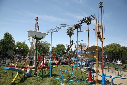 "Lifesized version of the game ""Mousetrap."""