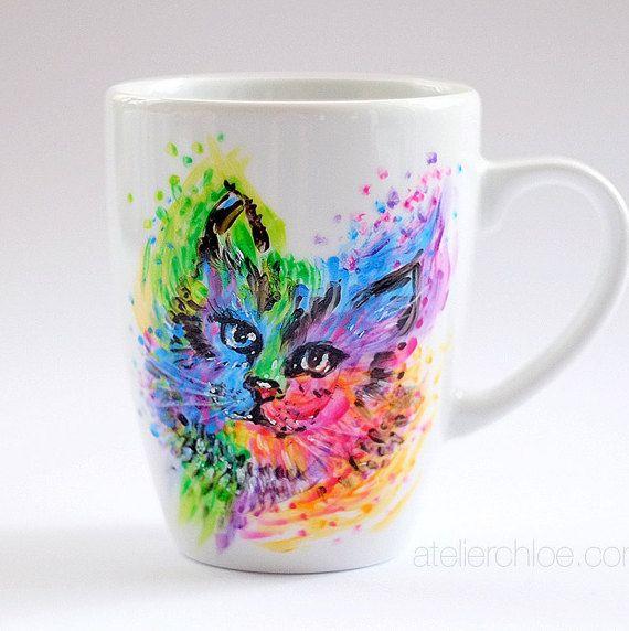 Cat mug kitty mug cat lovers gift watercolor by atelierChloe