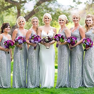 Sparkly silver and purple wedding at the glamorous Sherwood Country Club.