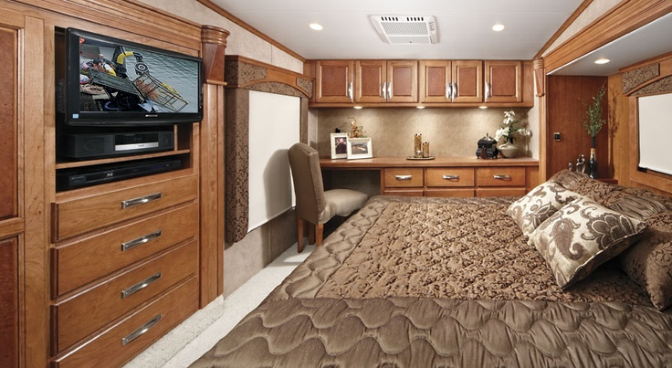 Roomy Rv Bedroom With Office Space My Vision Dream Board Luxury Rv Rv Living Cool Beds