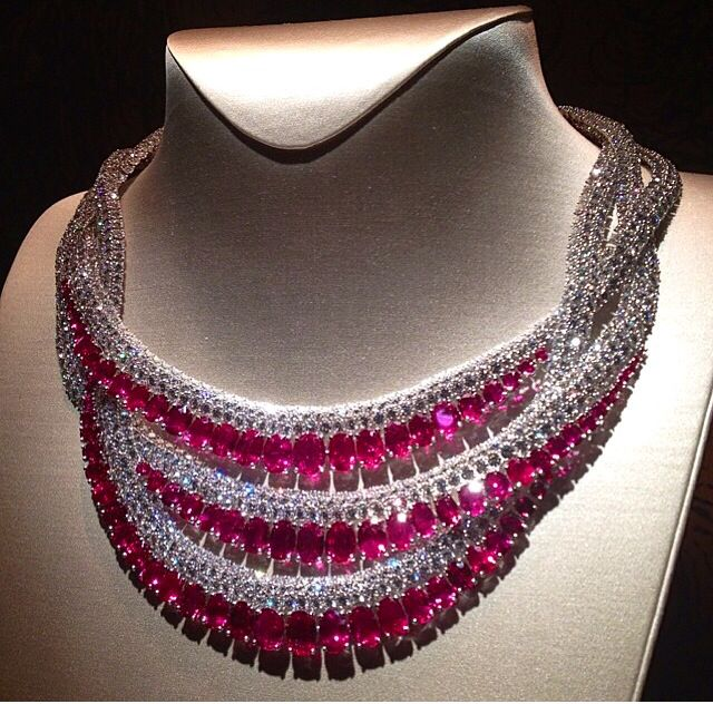 "Ruby and Diamonds Van Cleef Arpels Necklace from the new high jewellery collection ""Peau d'Âne"""
