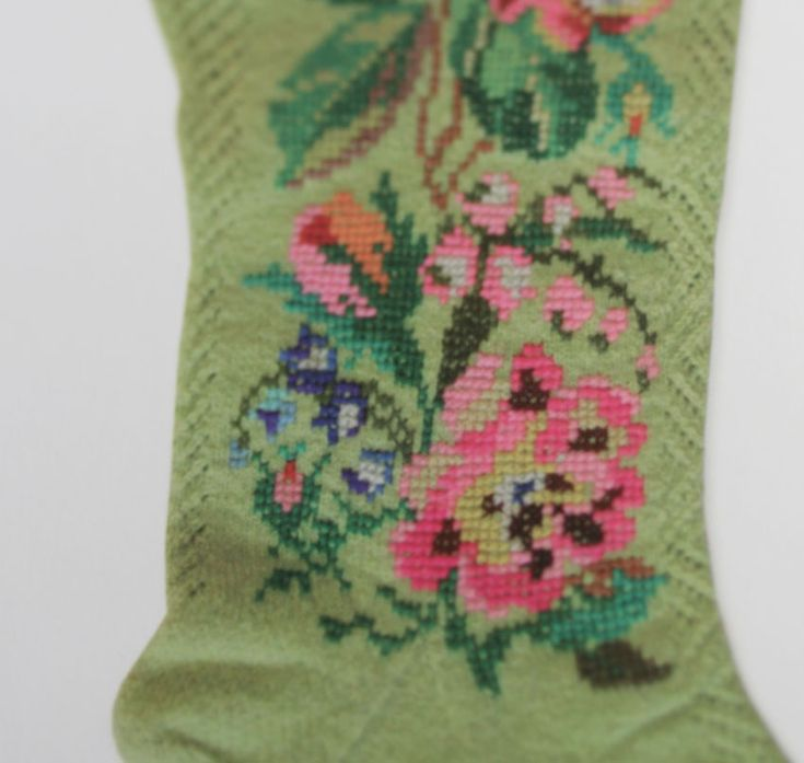 Handknitted stocking with openwork and cross stitch. Wow wow wow. Estonian needlework from the book Designs and Patterns from Muhu Island.