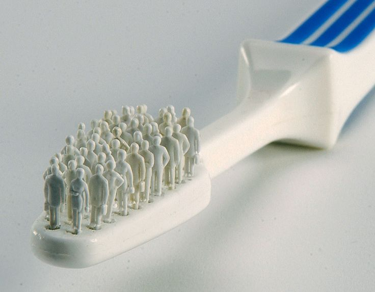 Little people clean your teeth… Thomas Keeley's toothbrush mini-sculpture.